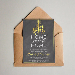 Rustic Chalkboard Home Sweet Home Invitation - Blú Rose Designs