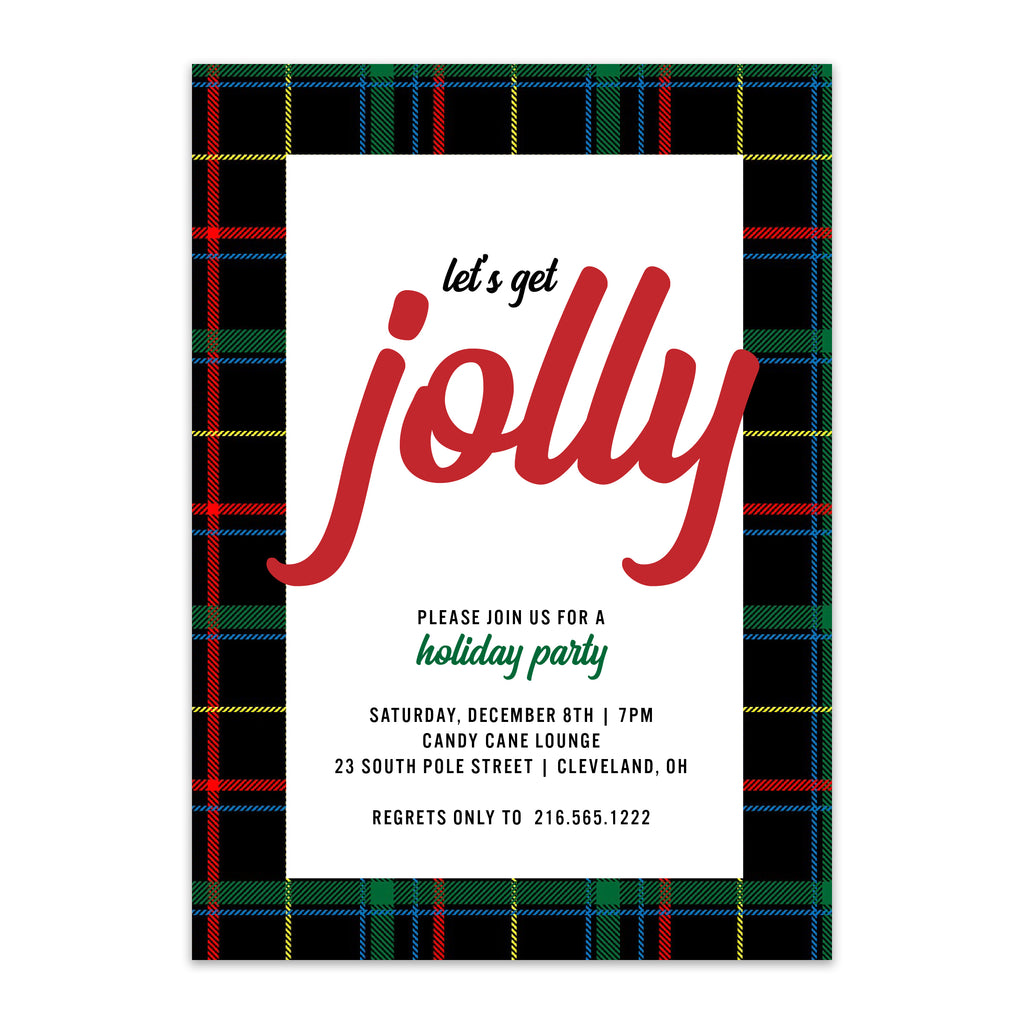 Jolly Plaid Holiday Party Invitation - Blú Rose Designs