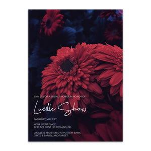 Lucille Moody Floral Bridal Shower Invitation - Blú Rose Designs