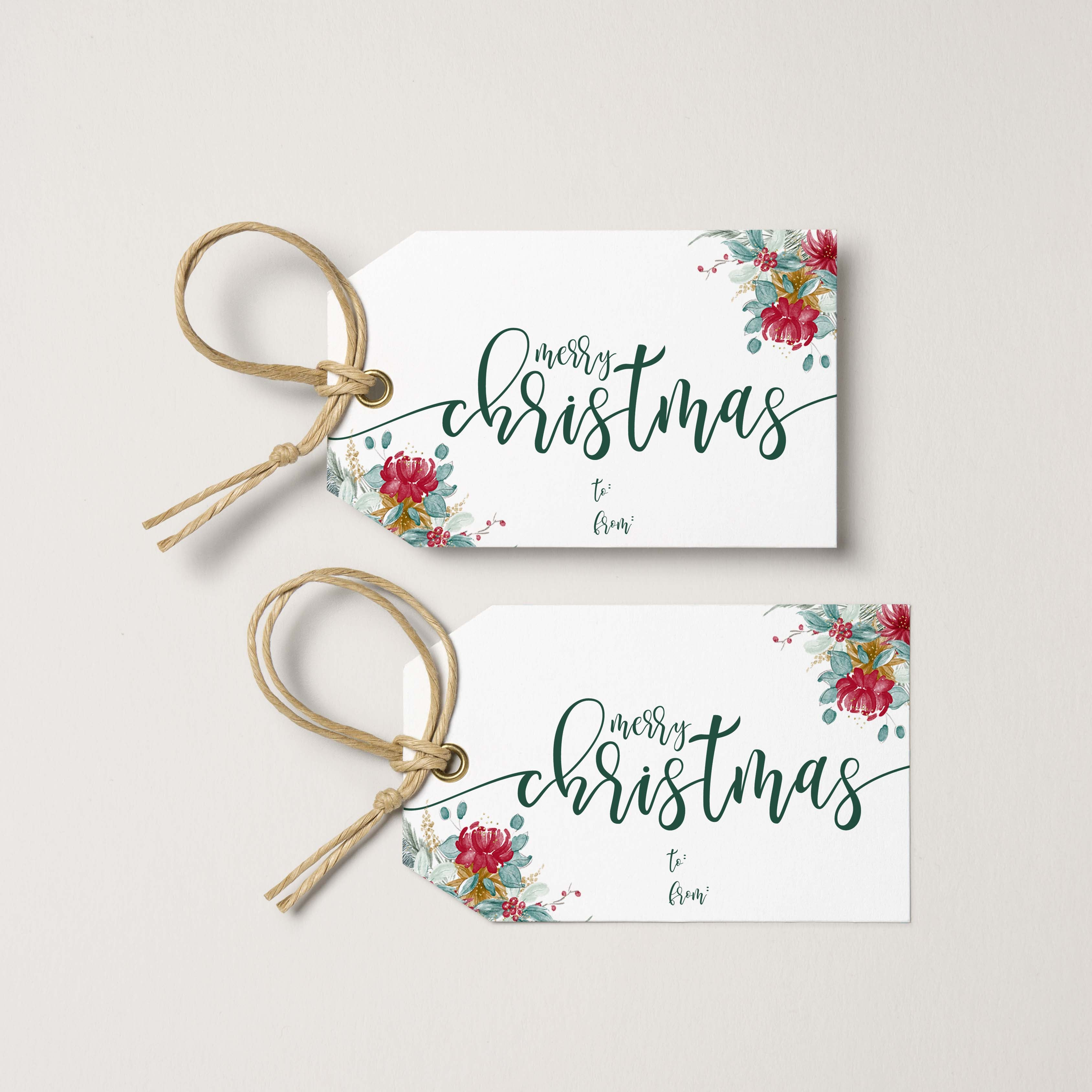 Merry Christmas Floral Gift Tags | Instant Download