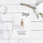 Load image into Gallery viewer, Minimalist Baby Photo Birthday Invitation - Blú Rose Designs