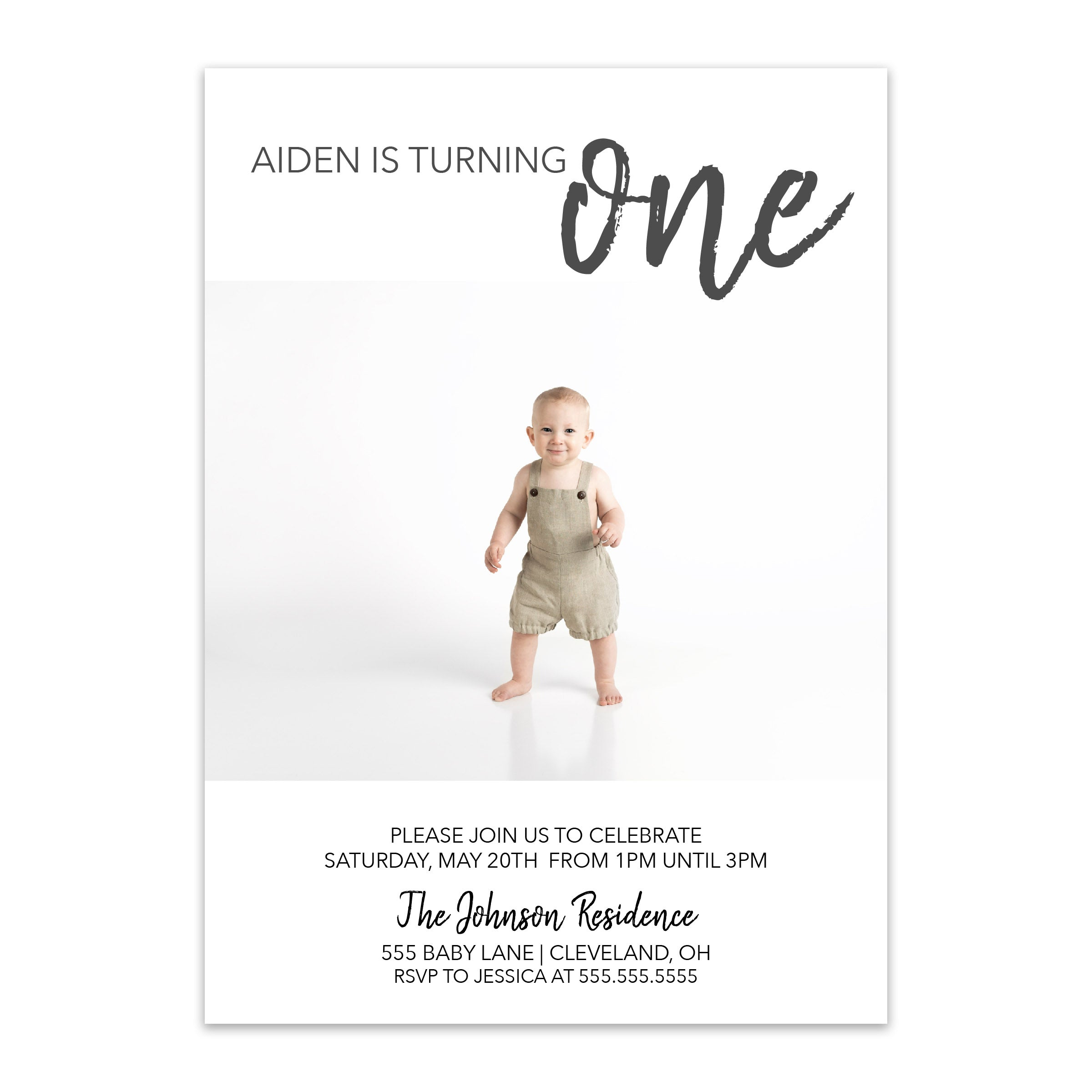 Minimalist Baby Photo Birthday Invitation - Blú Rose Designs