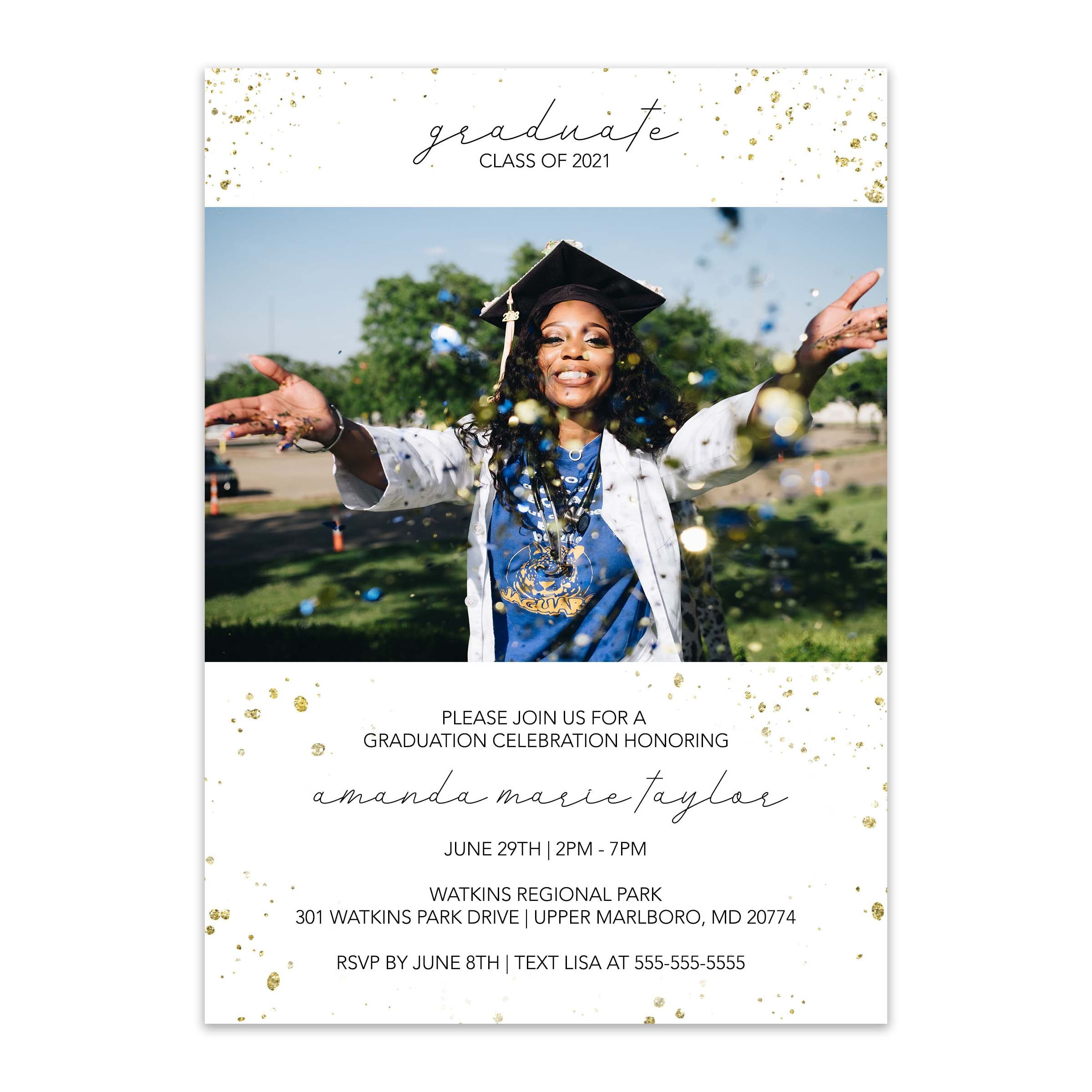Modern Sparkle Photo Graduation Invitation