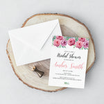 Load image into Gallery viewer, Pink Rose Bridal Shower Invitation - Blú Rose Designs