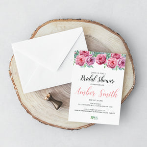 Pink Rose Bridal Shower Invitation - Blú Rose Designs