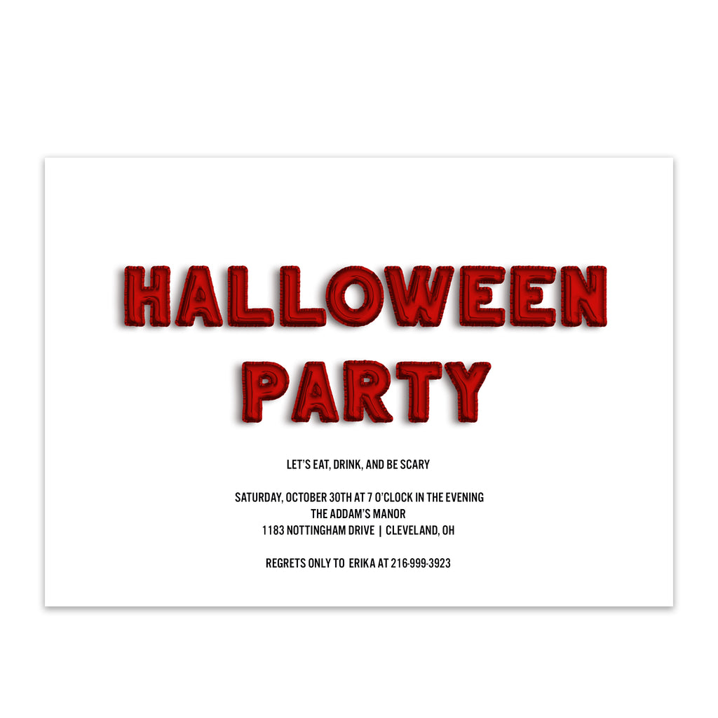 Red Balloon Halloween Party Invitation - Blú Rose Designs