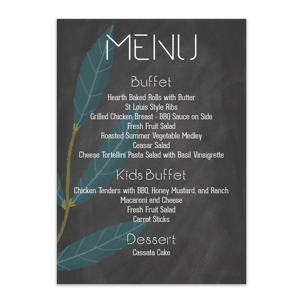 Rustic Chalkboard Wedding Menu - Blú Rose Designs