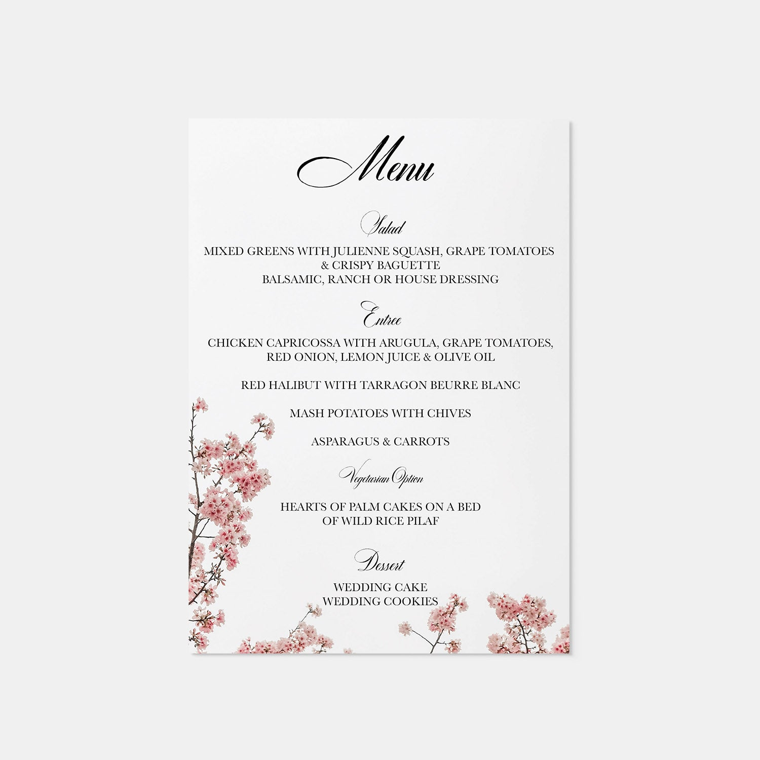 Cherry Blossom Wedding Menu - Blú Rose Designs