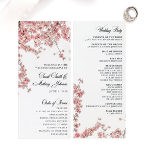 Cherry Blossom Wedding Ceremony Program - Blú Rose Designs
