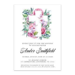 Pink Floral + Cross Baptism Invitation - Blú Rose Designs