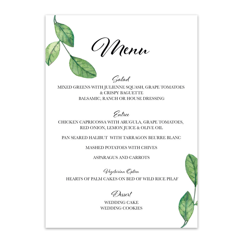 Green Leaf Wedding Menu - Blú Rose Designs