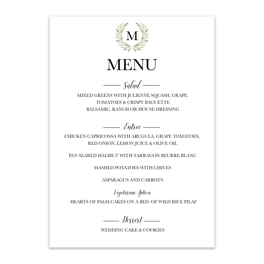 Monogrammed Green Wreath Wedding Menu - Blú Rose Designs