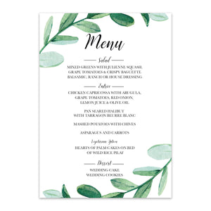 Greenery Wedding Menu - Blú Rose Designs