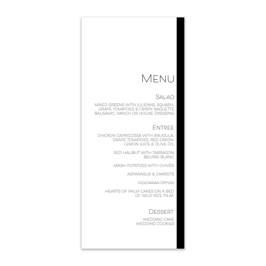 Modern Love Wedding Menu - Blú Rose Designs