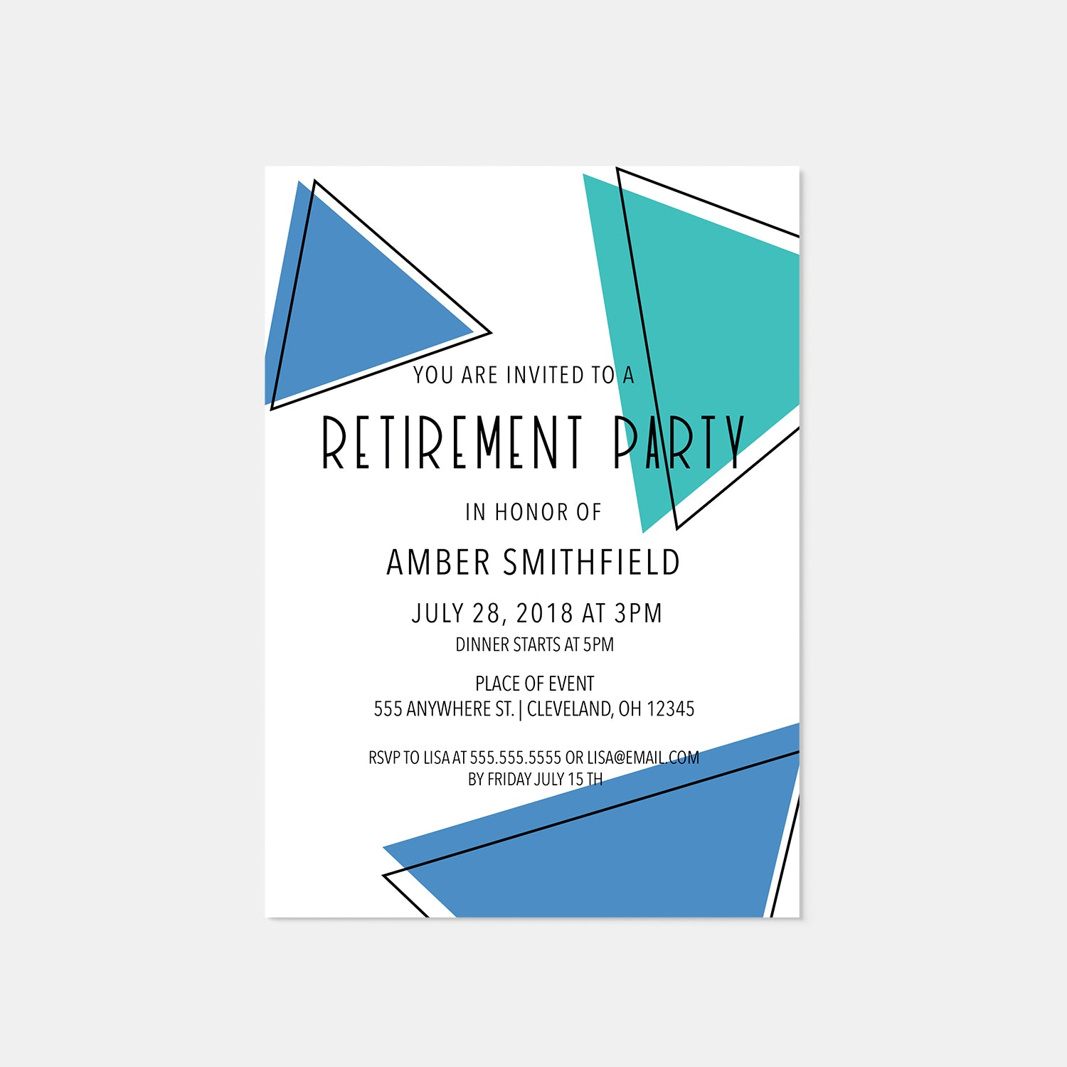 Geometric Retirement Party Invitation - Blú Rose Designs