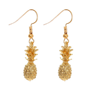 Gold Pineapple Drop Earrings