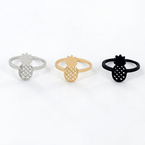 Pineapple Ring - Black, Gold or Silver
