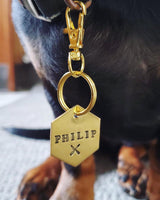 pet id tag, hand stamped dog tag, gold dog tag, custom cat tag, fork and knife dog tag, hungry dog, mooch