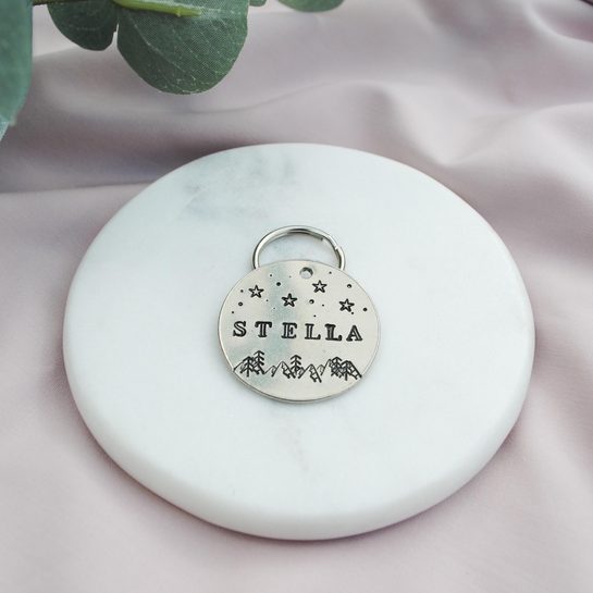 pet id tag, hand stamped dog tag, gold dog tag, custom cat tag, mountains stars and forest trees dog tag