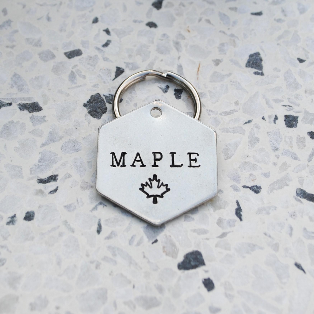pet id tag, hand stamped dog tag, gold dog tag, custom cat tag, maple leaf dog tag, canadian dog tag, canadian gift