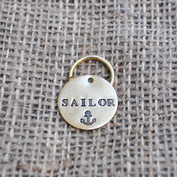 pet id tag, hand stamped dog tag, gold dog tag, custom cat tag, anchor dog tag