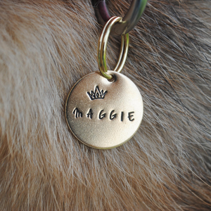 pet id tag, hand stamped dog tag, gold dog tag, custom cat tag, crown dog tag, princess dog tag, king dog tag