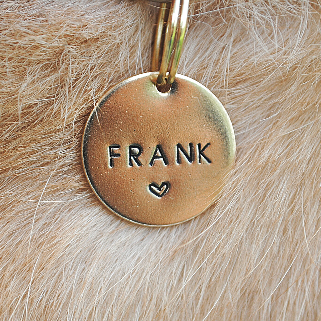 pet id tag, hand stamped dog tag, gold dog tag, custom cat tag, heart dog tag