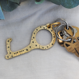 Brass No-Touch Door Opener - Hand Stamped Door Opener - Gift for Her - Dog Mom - Button Pusher - Hygiene Key - Hands Free Door Opener