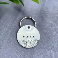 pet id tag, hand stamped dog tag, gold dog tag, custom cat tag, hearts dog tag, cute dog tagpet id tag, hand stamped dog tag, gold dog tag, custom cat tag, waves dog tag, beach dog tag