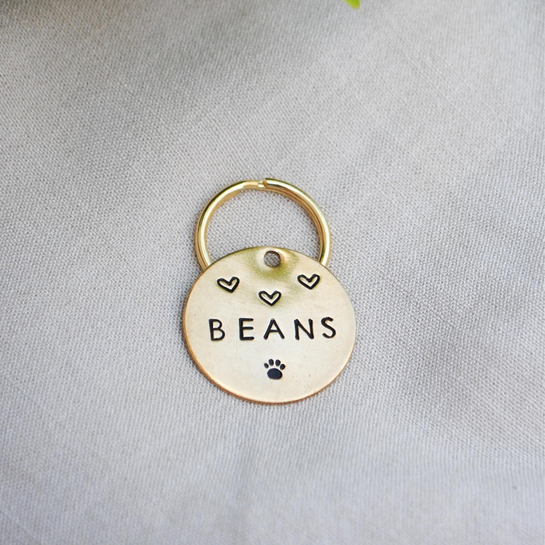pet id tag, hand stamped dog tag, gold dog tag, custom cat tag, hearts and paw print dog tag, cute dog tag