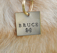pet id tag, hand stamped dog tag, gold dog tag, custom cat tag, crossbones dog tag