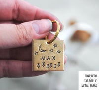 pet id tag, hand stamped dog tag, gold dog tag, custom cat tag, moon and forest trees dog tag
