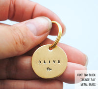 pet id tag, hand stamped dog tag, gold dog tag, custom cat tag, leaf dog tag, olive branch