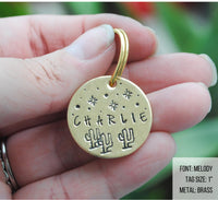 pet id tag, hand stamped dog tag, gold dog tag, custom cat tag, cactus dog tag