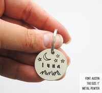 pet id tag, hand stamped dog tag, gold dog tag, custom cat tag, mountains stars and moon dog tag, luna dog tag