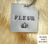 pet id tag, hand stamped dog tag, gold dog tag, custom cat tag, lotus flower dog tag, zen, yoga