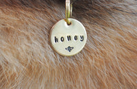 pet id tag, hand stamped dog tag, gold dog tag, custom cat tag, bee dog tag, honey dog tag, cute dog tag