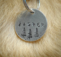 pet id tag, hand stamped dog tag, gold dog tag, custom cat tag, forest trees dog tag