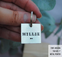 pet id tag, hand stamped dog tag, gold dog tag, custom cat tag, arrow dog tag