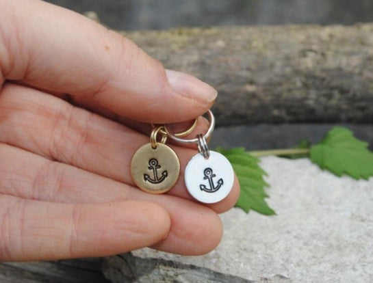 Anchor Hand Stamped Collar Charm