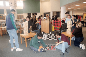 Pasadena High library has giant chess pieces, noisy kids and nobody saying, 'Shh!'
