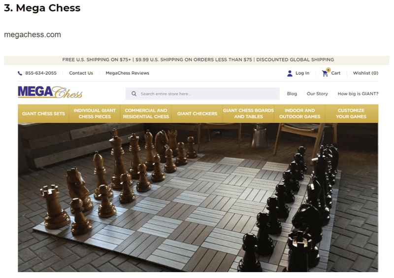 MegaChess Named #3 Chess Store Band by World Chess Pieces