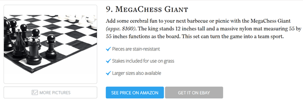MegaChess 12 Inch Plastic Giant Chess Set Voted 9th Best Chess Set in the World