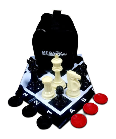 MEGACHESS Large Chess Set  8-inch King with Large Checkers Set and Giant Vinyl Chess Mat | Default Title | MegaChess.com