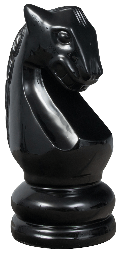 MegaChess 28 Inch Black Fiberglass Knight Giant Chess Piece |  | MegaChess.com