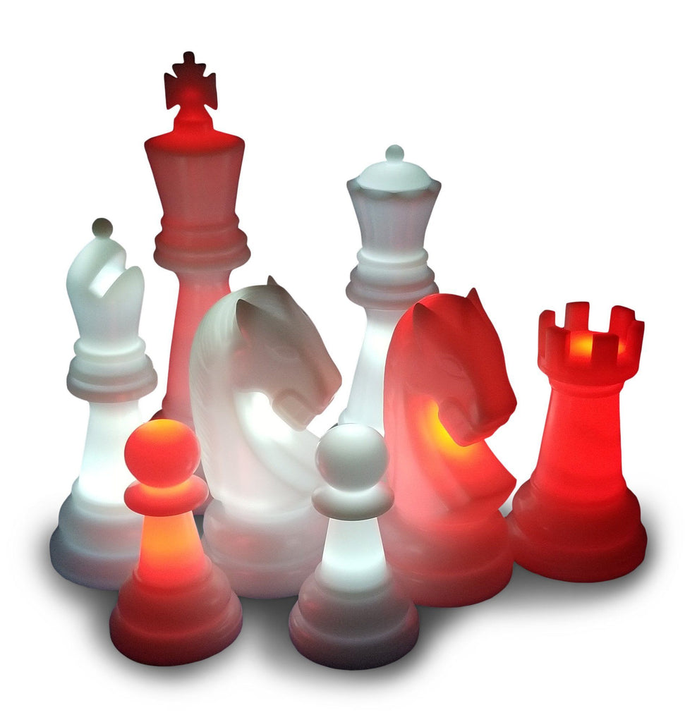 The Perfect 26 Inch Plastic Light-Up Giant Chess Set - With Day Time Pieces | White/Red | MegaChess.com