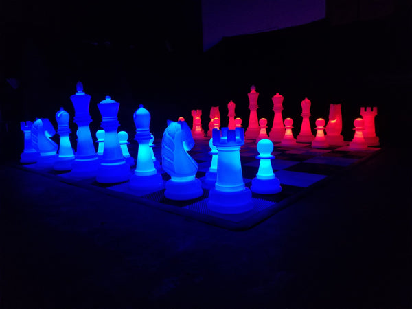The MegaChess 38 Inch Perfect LED Giant Chess Set - Option 2 - Night Time Only Set | Red/Blue | MegaChess.com