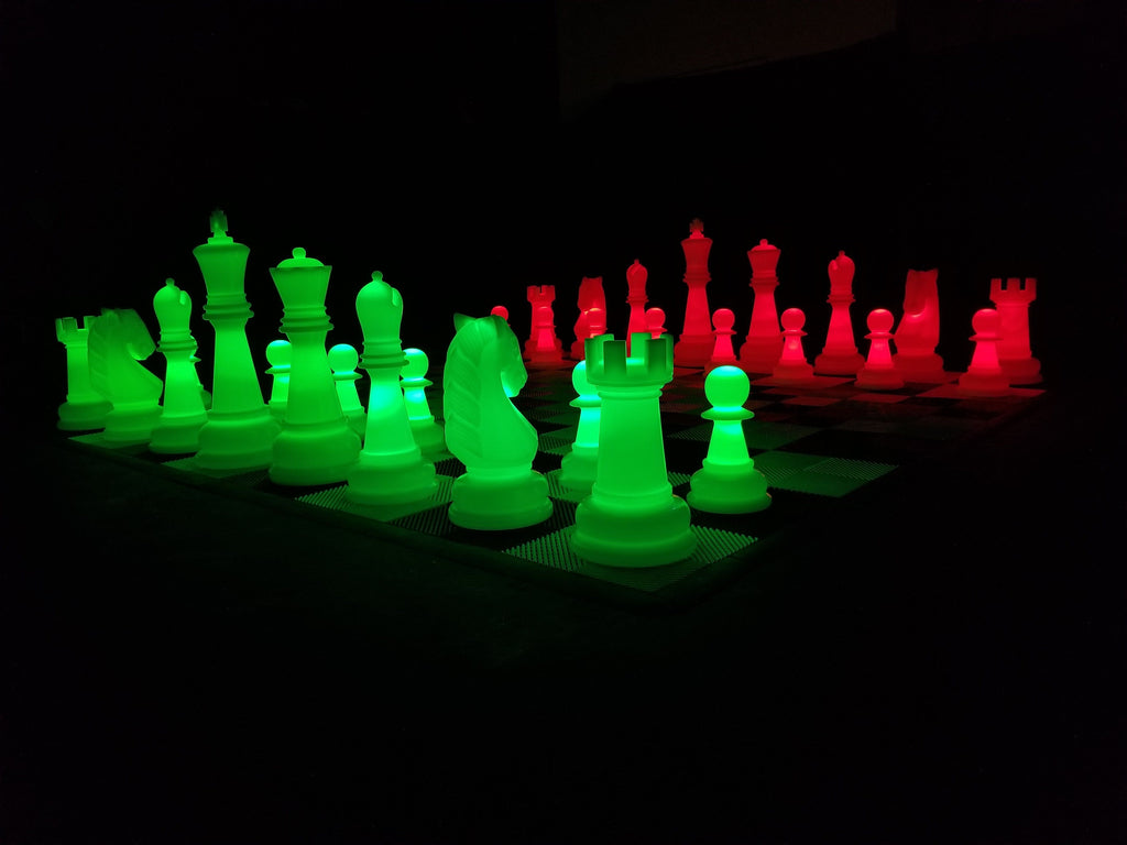 The MegaChess 38 Inch Perfect LED Giant Chess Set - Option 2 - Night Time Only Set | Red/Green | MegaChess.com