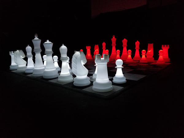 The MegaChess 38 Inch Perfect LED Giant Chess Set - Option 2 - Night Time Only Set | Red/White | MegaChess.com