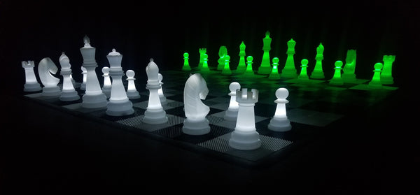 The MegaChess 38 Inch Perfect LED Giant Chess Set - Option 2 - Night Time Only Set | Green/White | MegaChess.com